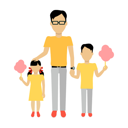 ni�os con pancarta: Father with children banner concept. Daddy holding hand of his daughter and son. Family and parent, girl and boy with dad, happiness together love parenting brother and sister, vector illustration