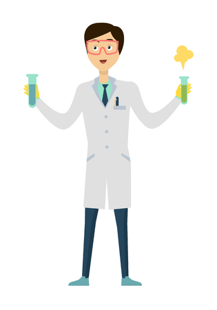 chemist: Chemistry banner concept flat style. Scientist chemist in a laboratory flask in hands holds a science experiment isolated on a red background. Technology research and experiment. Vector illustration