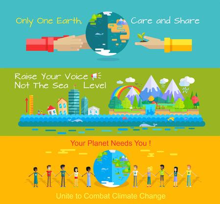 banderas concepto de protección del medio ambiente. del vector del día mundial del medio ambiente en el diseño de estilo plano. El cuidado del planeta. Tierra necesita. Monitoreo del nivel del mar, el calentamiento global, el cambio climático ilustración. Ilustración de vector