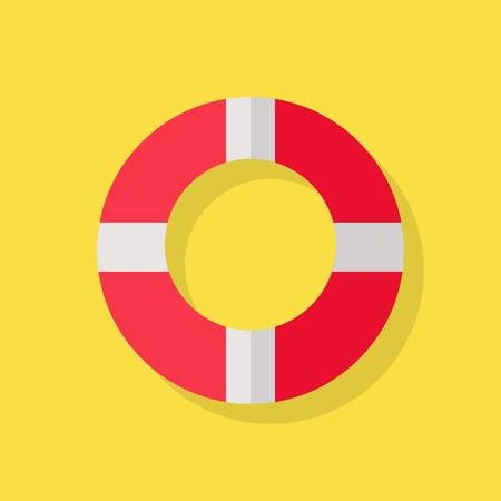 lifeline: Vector illustration of a red white lifeline lifebuoy on yellow background Illustration