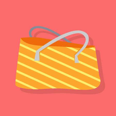beach bag: Orange and white striped summer beach bag. Vector isolated