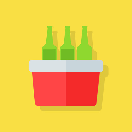 cold storage: Portative beach freezer bag flat design icon. Picnic cooling lunch box isolated on yellow background. Small freezer-bag in red color with drinks. Vector illustration Illustration