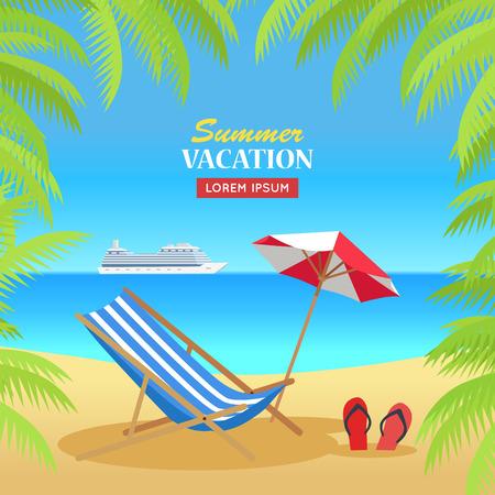 Banner concetto di vacanza estiva. Vettore di design stile piano. Tempo libero sulla spiaggia tropicale soleggiata con palme. Presidenza di spiaggia, ombrello e palme con la nave da crociera sull'illustrazione di orizzonte.