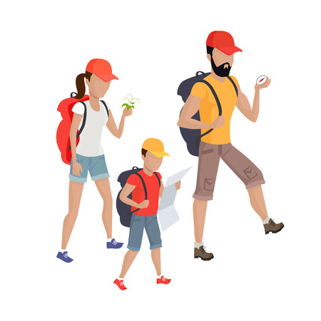 family hiking: Family hiking concept illustration. Vector flat design. Parents going camping with child. Outdoor holiday with wife and son. Recreation in nature with backpacks. Travel weekend on the wild. Isolated. Illustration