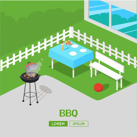 family outside house: House backyard with grill. BBQ party vector illustration In isometric projection. Barbecue concept web banner. Family summer picnic on the grass outside the house. Dinner in the open air with meats.