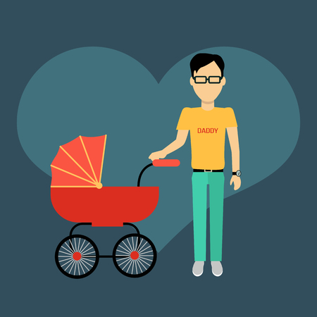 fatherhood: Father with a baby carriage banner design flat. Parent father walking with baby in the baby carriage. Daddy young happy with toddler, male and fatherhood, love and happiness, vector illustration