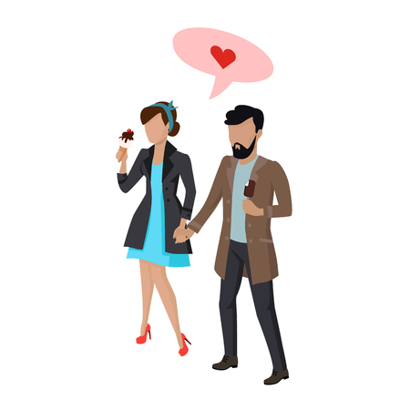 filings: Couple in love flat style vector. Dating concept. Making offer on vacation. Man and women walking, holding hands and eating ice-cream illustration. Isolated on white background. Red heart in pink speak bubble.
