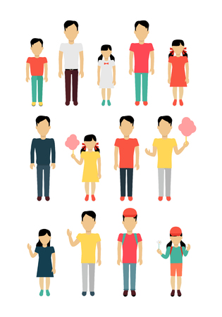 dad son: Set of father with children banner concept. Daddy with daughter and son. Family and parent, girl and boy with dad, happiness together love parenting brother and sister vector illustration