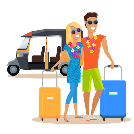 people traveling: People traveling together during summer vacation vector flat design. Honeymoon in exotic countries concept. Young man and woman with necklace of flowers embracing and holding suitcases near moto taxi.