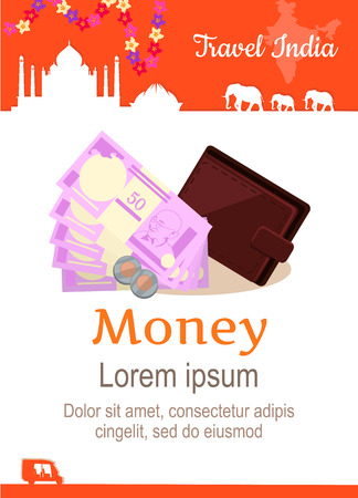 illustration journey: Travel India conceptual poster in flat style design. Summer vacation in exotic countries illustration. Journey to India vector template. Planning travel budget concept.