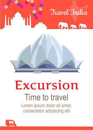 excursions: Travel India conceptual poster in flat style design. Summer vacation in exotic countries illustration. Journey to India vector template. Excursions to famous historical attractions concept.