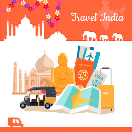 discovering: Travel India poster in flat style design. Discovering India Vector Design Template. Vacation journey to Indian attractive concept. Architecture, relics, transport, documents, suitcase illustration. Illustration