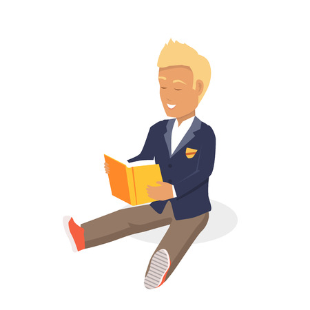 blonde haired: Young blonde haired man student happy enjoying reading big thick book. Student sits and reads a book. Boy is a reading big book. Reading kid. Reading student. Kid reading open book sitting on floor Illustration