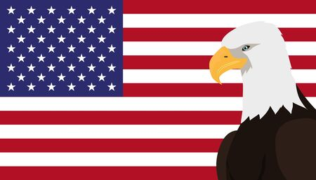 specie: Bald eagle vector. USA national bird symbol and flag for patriotic national symbolic, patriotic posters, elections illustrating. Big eagle witn white fead on American flag background. 4 july Illustration
