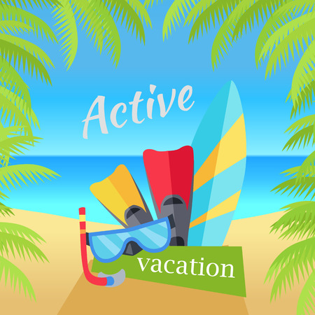 surfboard fin: Summer vacation concept banner. Flat design vector illustration. Set of things for active rest on seacost. Diving mask, fins, surfboard on sunny beach background. Frame from palm branches on sides. Illustration