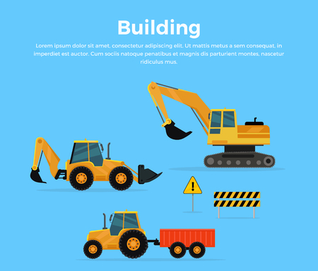 web banner: Building conceptual banner. Set of construction machines. Extraction, transport, moving materials illustration for advertise, infographic, web page design. Excavator, loader, tractor with trailer. Illustration