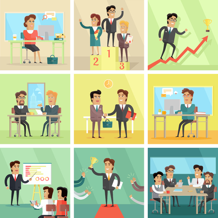 planing: Set of business concepts. Flat design. Illustrations for business topics. Office work, meeting, success planing, conversations, victory. Business people characters. Elements for infographic.