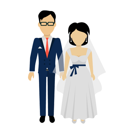newlyweds: Newlyweds couple design banner concept flat style. Beautiful young couple newly-married couple isolated on a red background. Love people and wedding, groom and bride marriage .Vector illustration Illustration