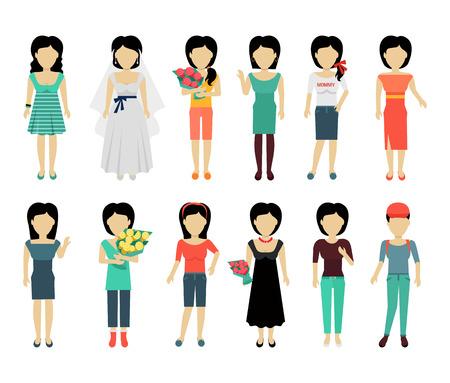 Set di personaggi femminili senza volto nel vettore stoffa varietà. Design piatto. modello di donna personaggi illustrazione per concetti donna, app moda, loghi, Infografica. Isolato su sfondo bianco.
