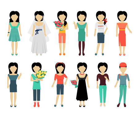 personages: Set of female characters without face in variety cloth vector. Flat design. Woman template personages illustration for woman concepts, fashion app, logos, infographic. Isolated on white background. Illustration