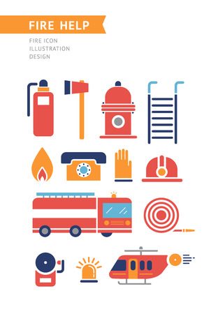 flashers: Fire help service icons set. Flat style design. Collection of equipment and tools for firefighters team. Fire helicopter, car, ax extinguisher, helmet, hose, ladder, illustrations. On white.