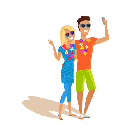 taking picture: Summer vacation selfie concept. Honeymoon in exotic countries vector illustration. Flat style design. Couple in love with a necklace of flowers taking picture. Isolated on white.