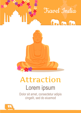 illustration journey: Travel India conceptual poster in flat style design. Summer vacation in exotic countries concept. Journey to India vector template. Attraction of India spiritual centres illustration.