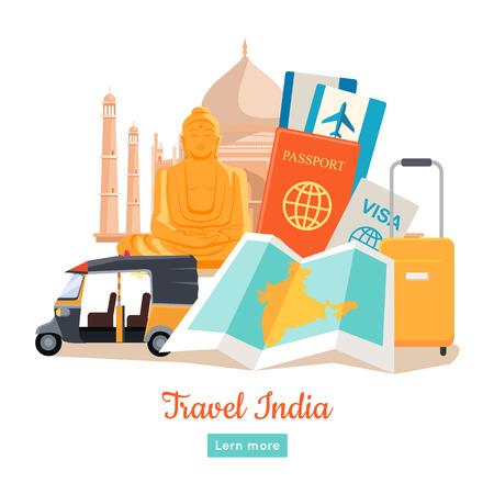 Affiche de voyage en Inde dans un style plat. Découverte du modèle de conception de vecteur de l'Inde. Voyage de vacances au concept attrayant indien. Architecture, reliques, transport, documents, illustration de valise.