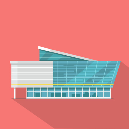 commercial building: Shopping mall web page template. Flat design. Commercial building concept illustration for web design, banners. Shop, shopping center, mall, supermarket, business center on township background.