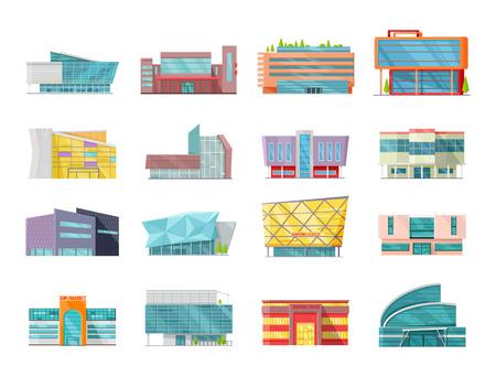 Set van commerciële gebouwen, architectuur variaties in plat design. Moderne structuren vector voor web design, app-iconen, navigatiediensten. Winkel, winkelcentrum, supermarkt, business center illustraties.
