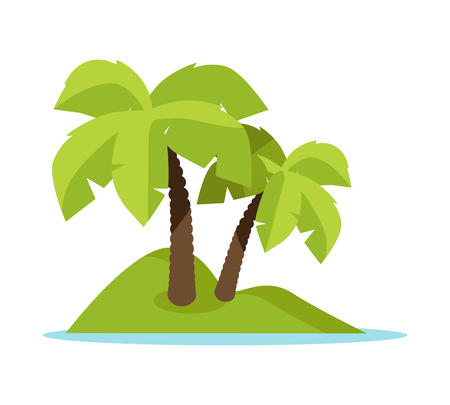 deserted: Topic island vector illustration. Flat design. Summer vacation in tropics concept. Leisure on seacoast picture for ad, web design. Tiny deserted green island in ocean with palm trees. On white. Illustration
