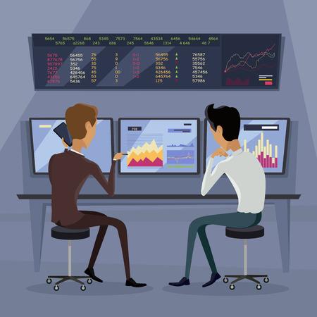 uprzejmości: Modern online trading on stock exchange concept. Flat style design Monitoring of value indexes. Online trading technology. Brokerage trading on the web vector. Flat style design. Businessmans at work. Ilustracja