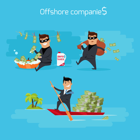 laundering: Offshore companies concept vector. Flat design. Financial crime, tax evasion, money laundering, political corruption illustration. Man in a business suit, in mask launderers, hides and takes money.