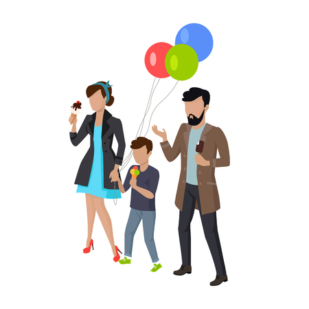 freetime: Childrens holiday with parents vector illustration. City entertainment with child concept. Child birthday walk. Man, woman and child eating ice-cream. Isolated on white background. Illustration