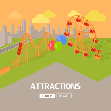 freetime: Amusement park attractions vector flat style design web banner. City entertainment in the summer vacation concept. Ferris wheel and roller coaster illustration. City landscape.