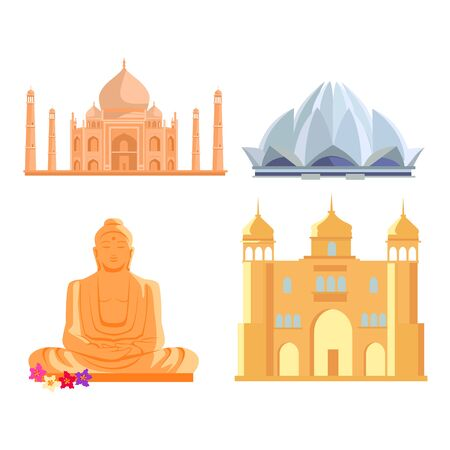 buddha lotus: Set famous Indian architectural attractions. Tadj mahal, Lotus temple, Buddha Statue, ancient palace flat style design vector illustrations. Summer vacation in India concept.