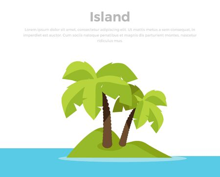 deserted: Topic island banner. Summer vacation in exotic countries concept. Leisure on seacoast illustration for ad, web design. Tiny deserted green island in ocean with palm trees. On white background. Stock Photo