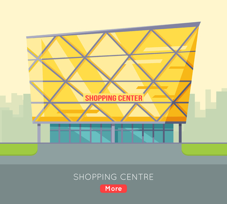 facade building: Shopping centre web page template. Flat design. Commercial building concept illustration for web design, banners. Shop, shopping center, mall, supermarket, business center on township background.