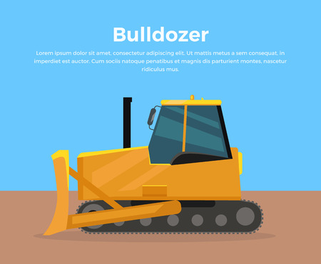 crawler tractor: Bulldozer vector banner. City building flat design concept. Construction machines in career. Extraction, transport, moving materials, earthworks illustration for advertise, infographic, web design. Stock Photo
