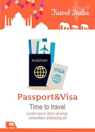 illustration journey: Travel India conceptual poster in flat style design. Summer vacation in exotic countries illustration. Journey to India vector template. Traveller documents concept.