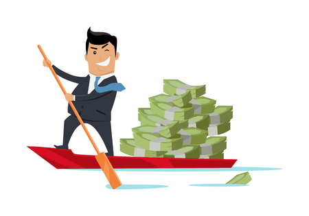 tax evasion: Escape with money concept vector. Flat design. Success. Financial crime, tax evasion, money laundering, political corruption illustration. Smiling man in business suit sailing away on boat with money.