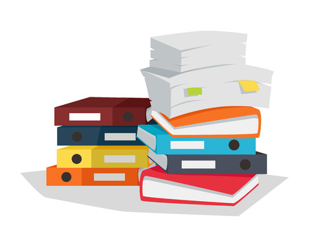bureaucracy: Stack of papers. Large number of business documents with bookmarks. Colorful binders.Paper work, office routine, bureaucracy concept. Flat design. Illustration for data, e-mail, management, services. Stock Photo