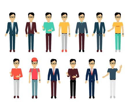 average guy: Set of male character without face in different clothing and poses vector. Flat design. Man template personages illustration for concepts, mobile app pictogram, logos, infographic. Isolated on white.