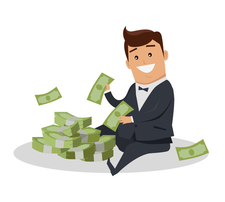 wage: Male character with stack of money vector. Flat style design. Smiling man in business suit sitting near pile of dollar banknotes. Investment, wages, income, credit, savings, charity, wealth concept.