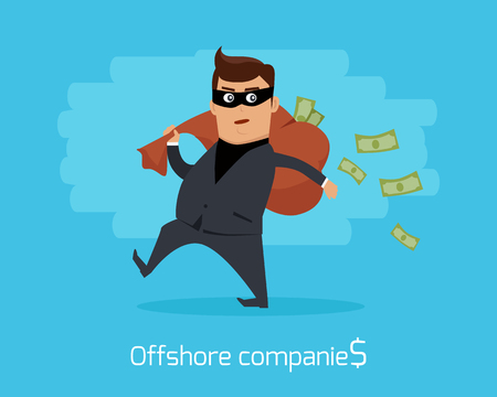 laundering: Offshore companies concept vector. Flat design. Financial crime, tax evasion, money laundering, political corruption illustration. Man in a business suit, in mask carrying a bag of money on back. Illustration