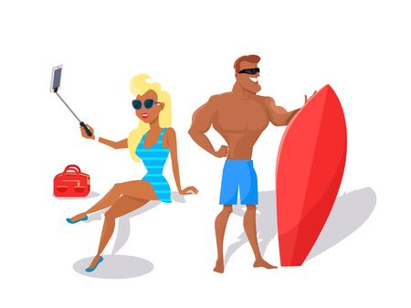 entertainments: Summer fun concept illustration. Beach entertainments. Selfies and surfing vector in flat style design. Pretty blonde woman in swimsuit making selfie, muscular smiling man standing with surfboard. Stock Photo