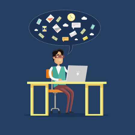 personage: Young businessman works on his laptop in office, sitting at desk, looking at computer screen on blue background. Smiling young man personage. Flat design vector illustration. Illustration
