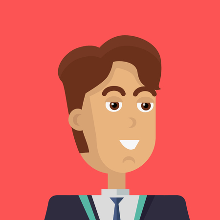 personage: Businessman avatar icon isolated on red background. Man with brown hair in business suit and tie. Smiling young man personage. Flat design vector illustration