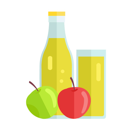 summer drink: Bottle and glass with apple beverage. Vector in flat design. Sweet summer drink, fresh juice concept. Illustration for icons, labels, prints,  , menu design, infographics. Isolated on white.