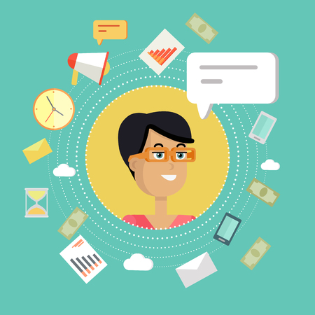 personage: Creative office background. Businesswoman icon with bubble. Avatars of woman with devices for communication. Smiling young female personage in flat on green background. Vector illustration.
